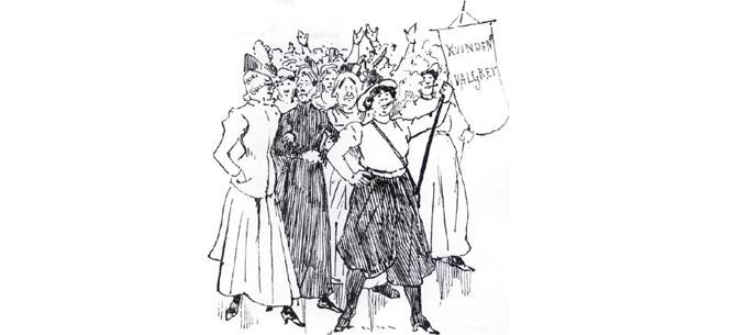 """Cartoon of a women's suffrage rally, 1898, The Royal Library, Copenhagen"""