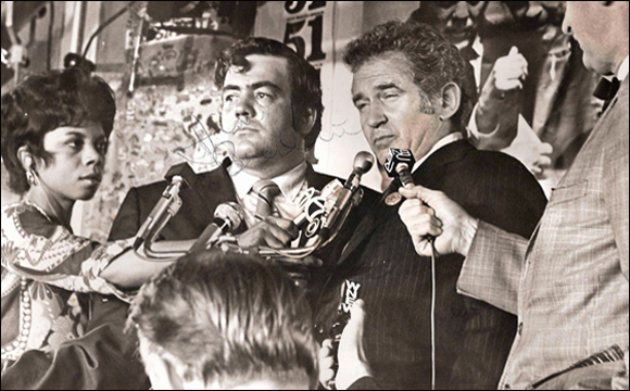 Norman Mailer and Jimmy Breslin conceding defeat after Mailer's 1969 mayoral campaign. Photo © Mitchell Cohen (all rights reserved).