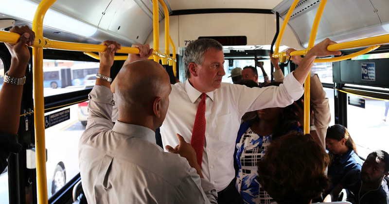 De Blasio on the bus