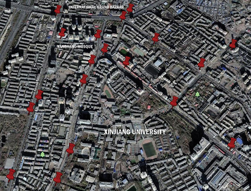 A map of convenience police stations in the center of the Uyghur district in Ürümchi (Darren Byler, with Google Earth)